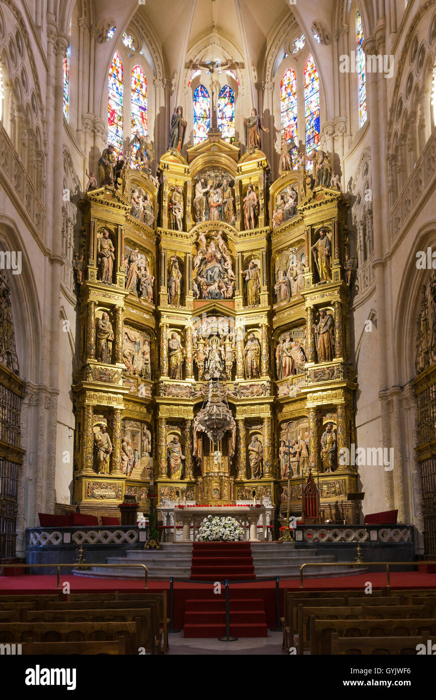 Wooden altarpiece inside the Burgos cathedral, in Spain ...  Wooden altarpie...