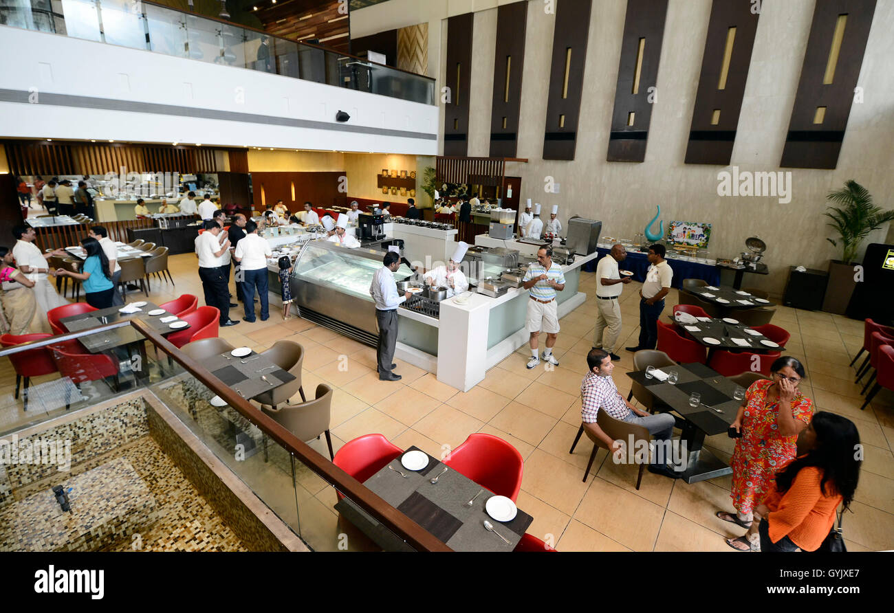 A splendid lunch buffet at Hotel Country Inn & Suites, Sahibabad, UP, India - Stock Image