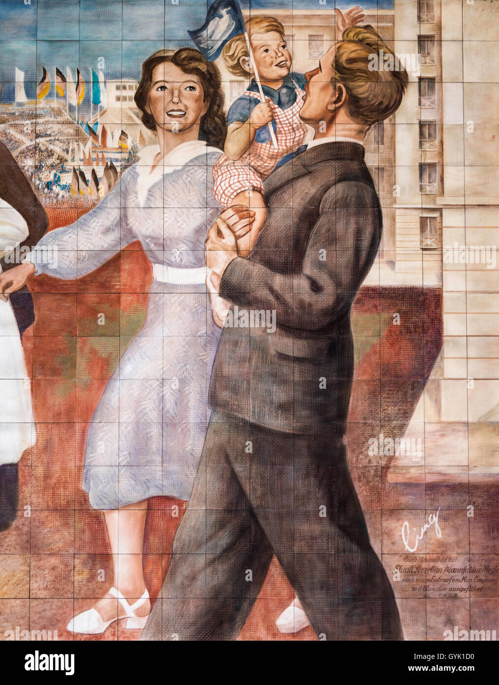 Details from 1950s DDR East German propagandist mural by Wolfgang Ruppel Berlin Germany - Stock Image