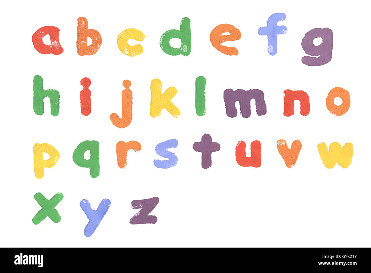 A sponge letter alphabet printed on white paper. - Stock Image