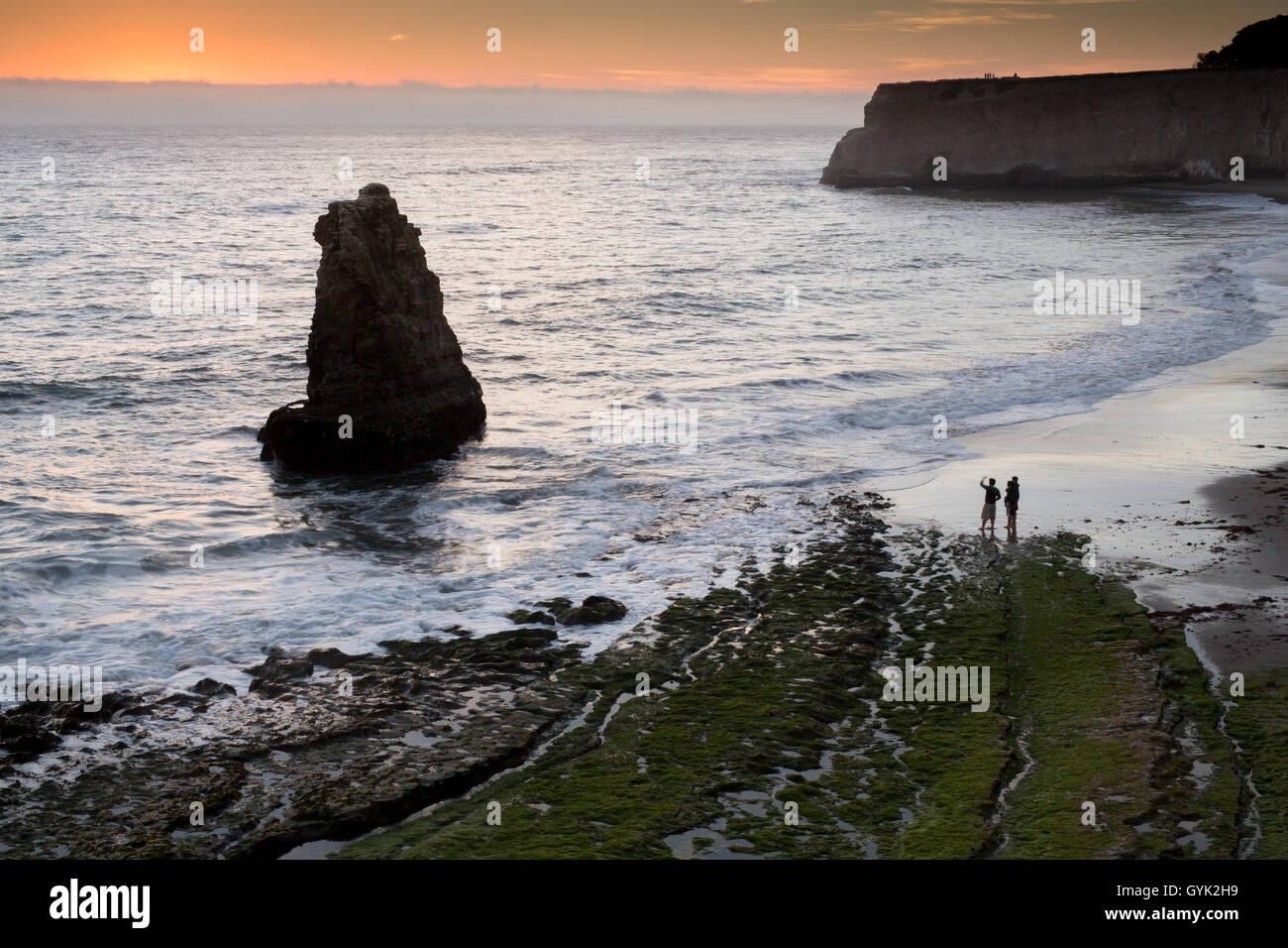 Pacific Ocean sunset from San Vicente Creek, Davenport, California, USA Stock Photo