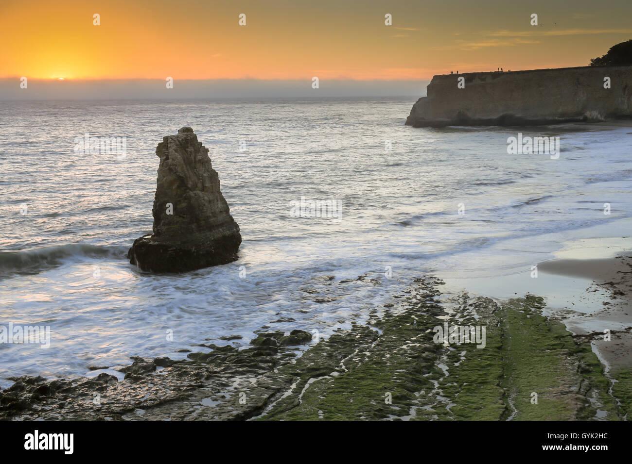Pacific Ocean sunset from San Vicente Creek, Davenport, California, USA - Stock Image