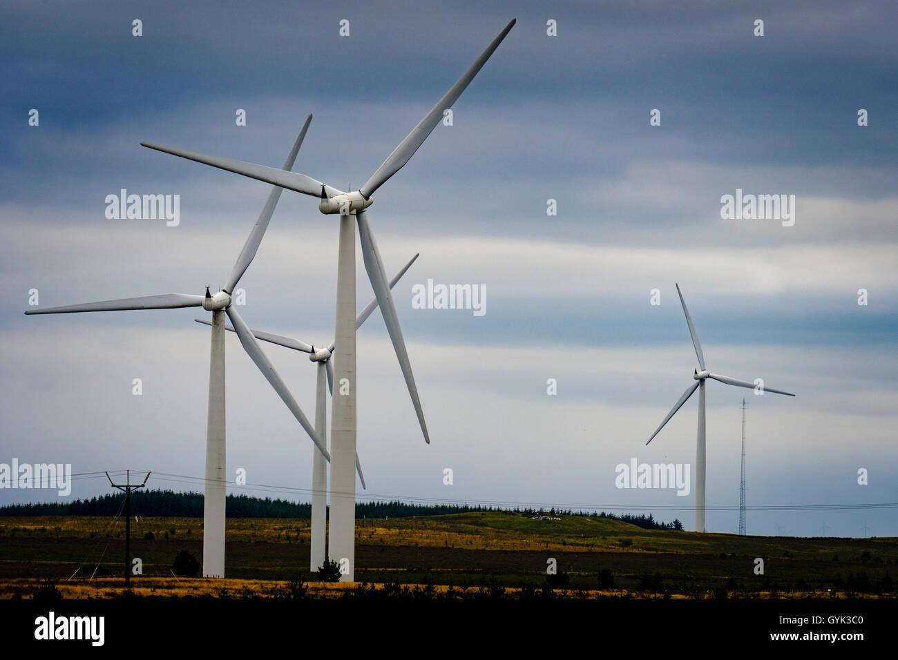 Wind turbines on the Black Law Wind Farm, South Lanarkshire, Scotland - Stock Image