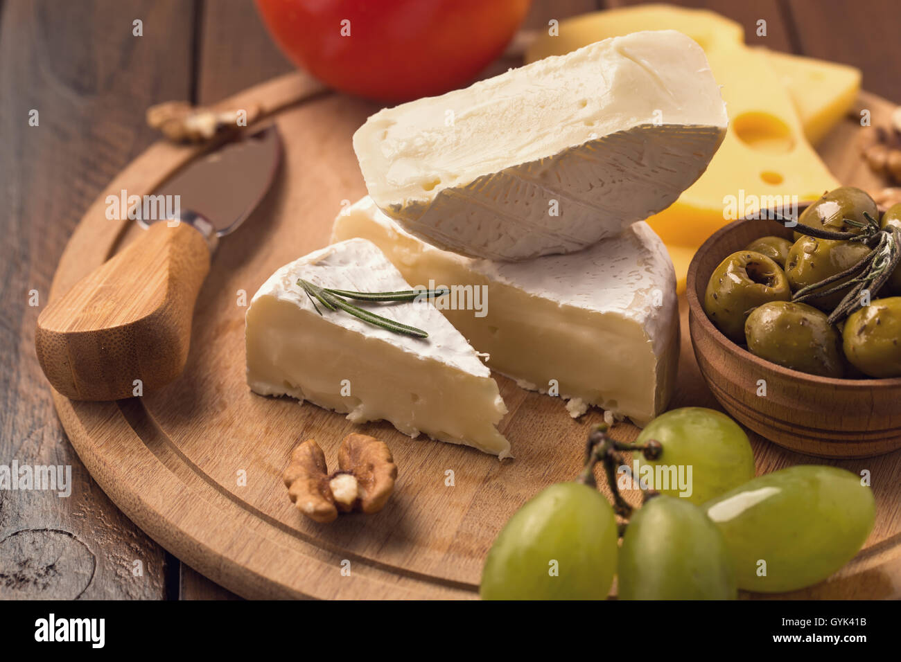 Sliced brie cheese - Stock Image