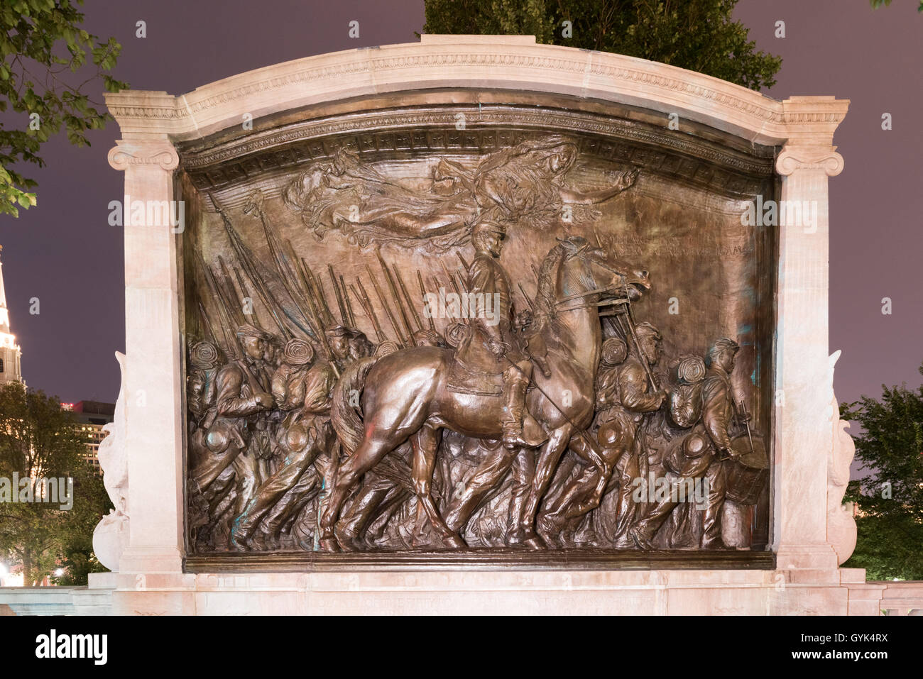 The Robert Gould Shaw and Massachusetts 54th Regiment Memorial, located across Beacon Street from the State House - Stock Image