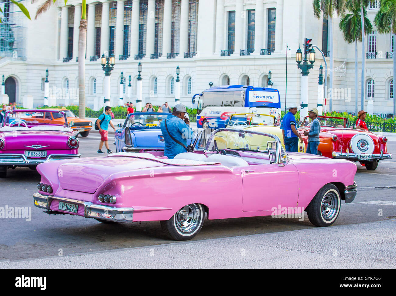Old classic American cars on one of Havana\'s streets Stock Photo ...