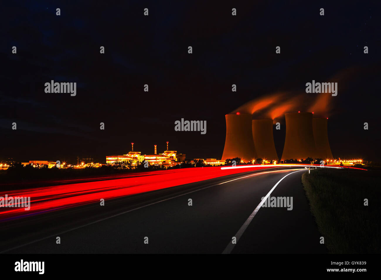 The cooling towers at night, nuclear power generation plant, Temelin, Czech Republic - Stock Image