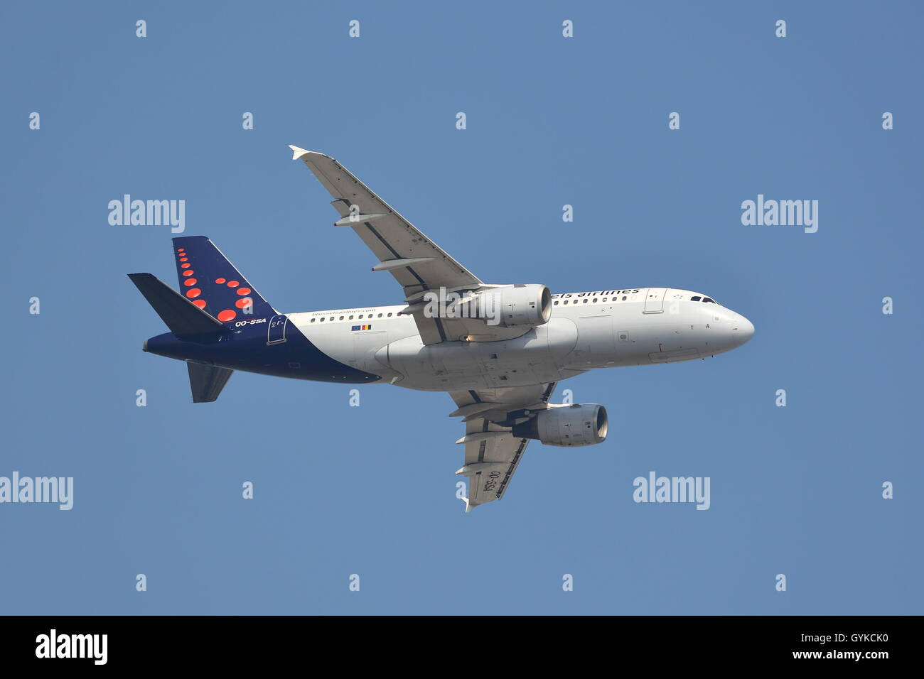 Brussels Airlines Airbus A319-111 OO-SSA departing from London Heathrow Airport, UK - Stock Image