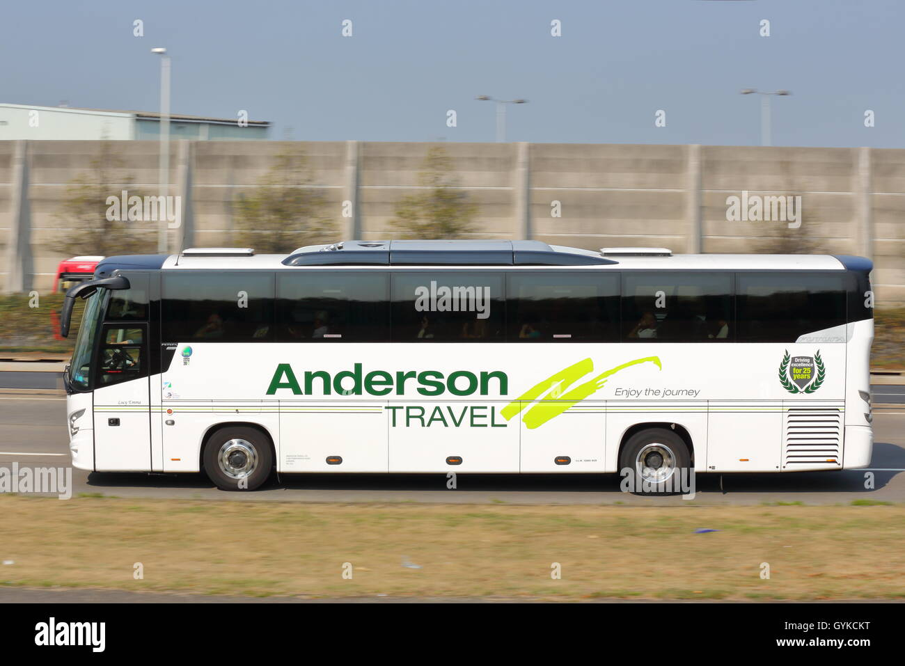 Anderson Travel coach near Heathrow Airport - Stock Image