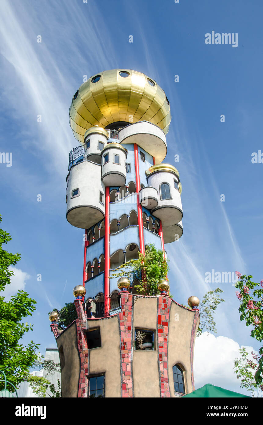 The Kuchlbauer Tower was completed after Hundertwasser's death by architect Peter Pelikan overseeing construction. Stock Photo