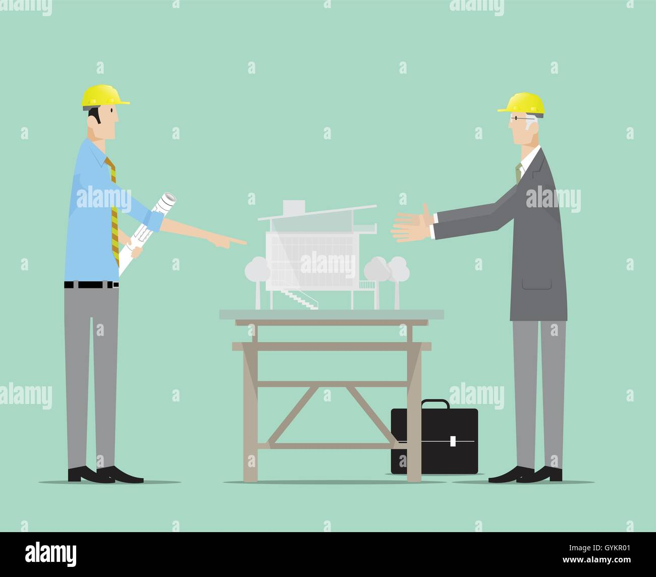 Architects discussing about architectural model building. Stock Vector