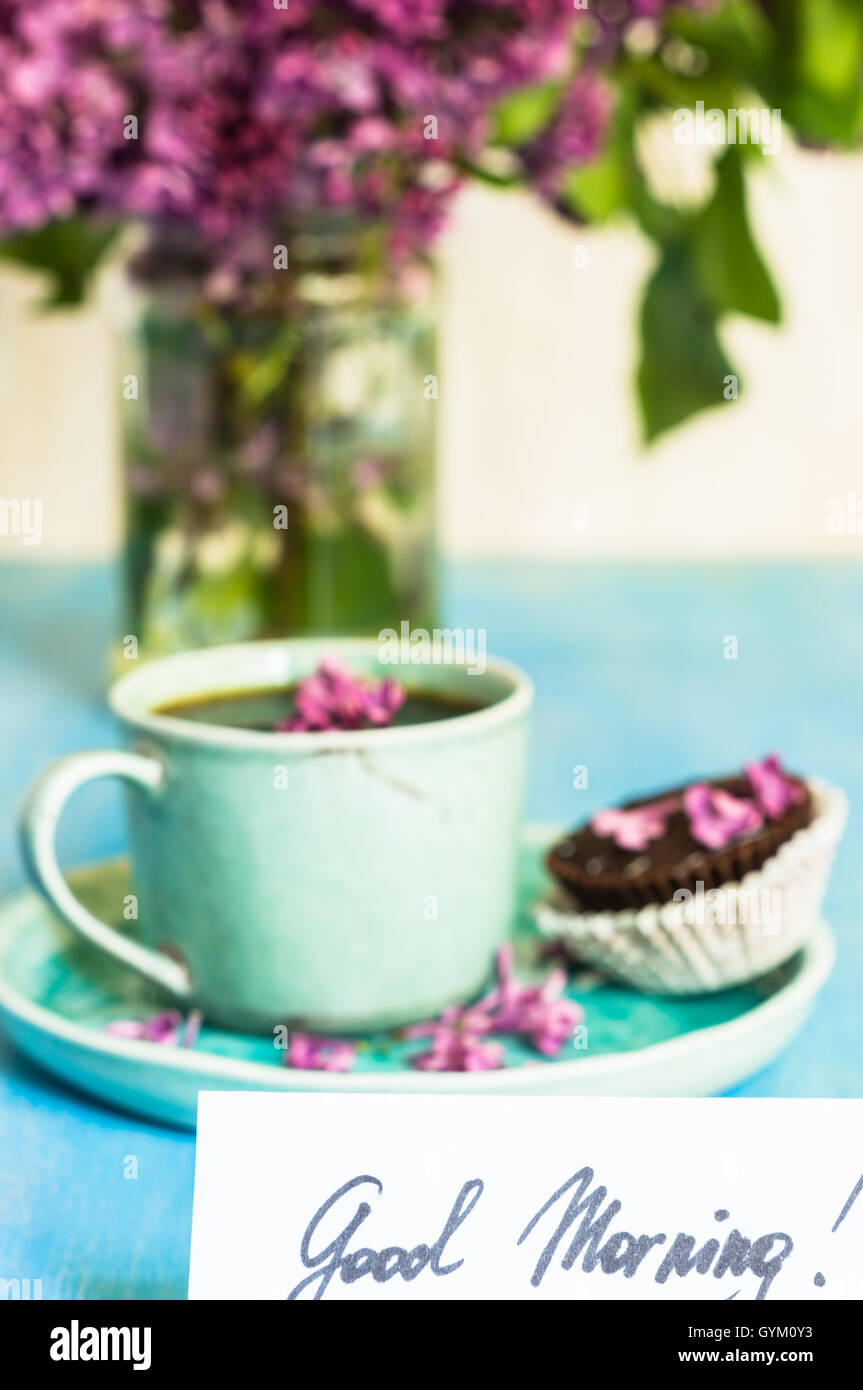 Lilac Flowers And Cup Of Coffee With Good Morning Note On Rustic Stock Photo Alamy