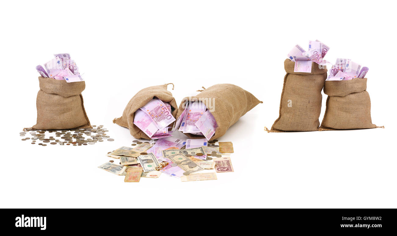 Collage of money in bags. Stock Photo