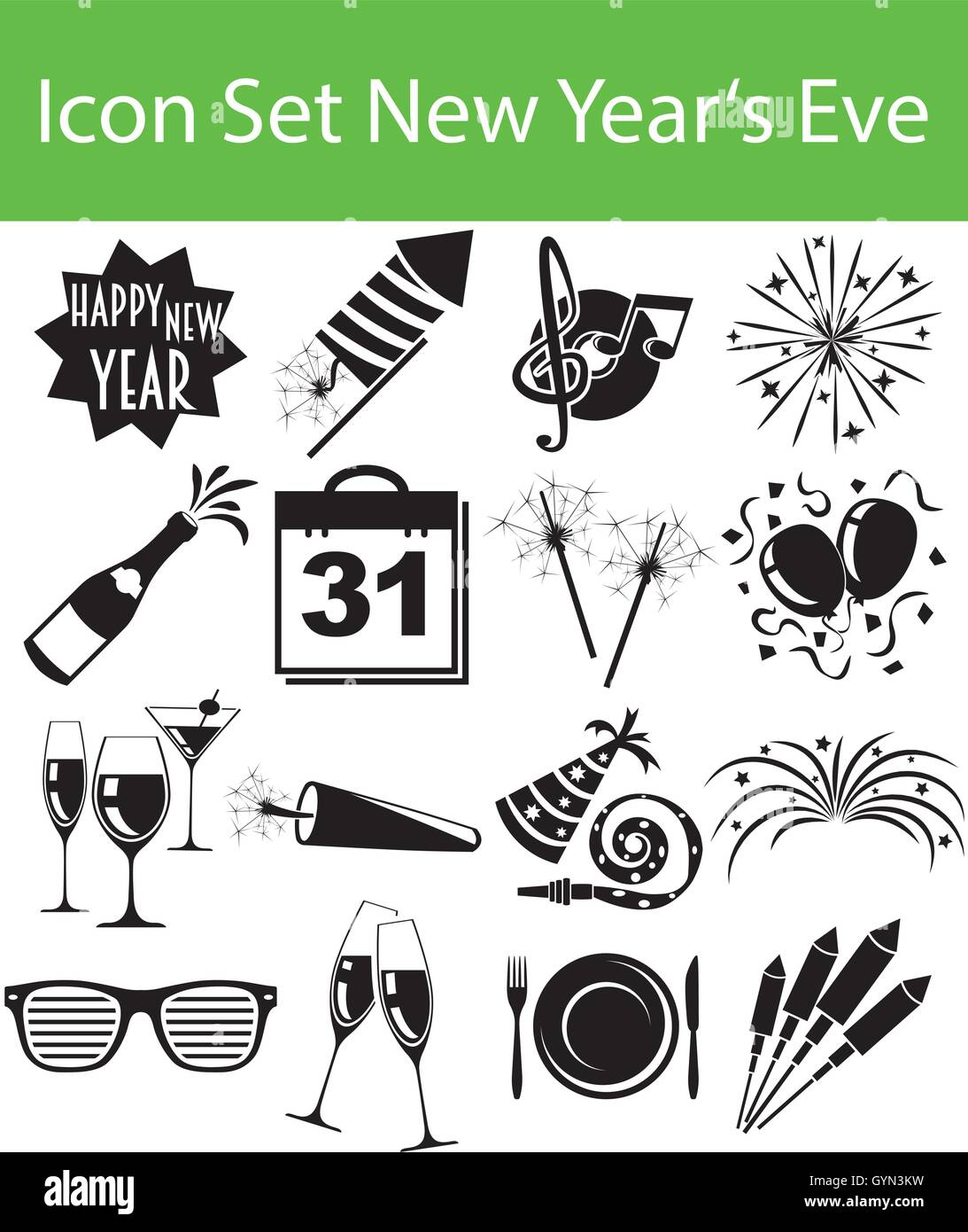 icon set new year s eve with 16 icons for the creative use in graphic stock vector image art alamy icon set new year s eve with 16 icons for the creative use in graphic stock vector image art alamy