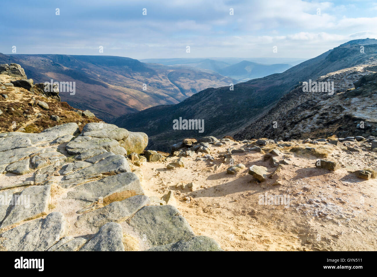 A sunny Winter day at the head of Grindsbrook Clough, Kinder Scout, Derbyshire, Peak District National Park, England, - Stock Image