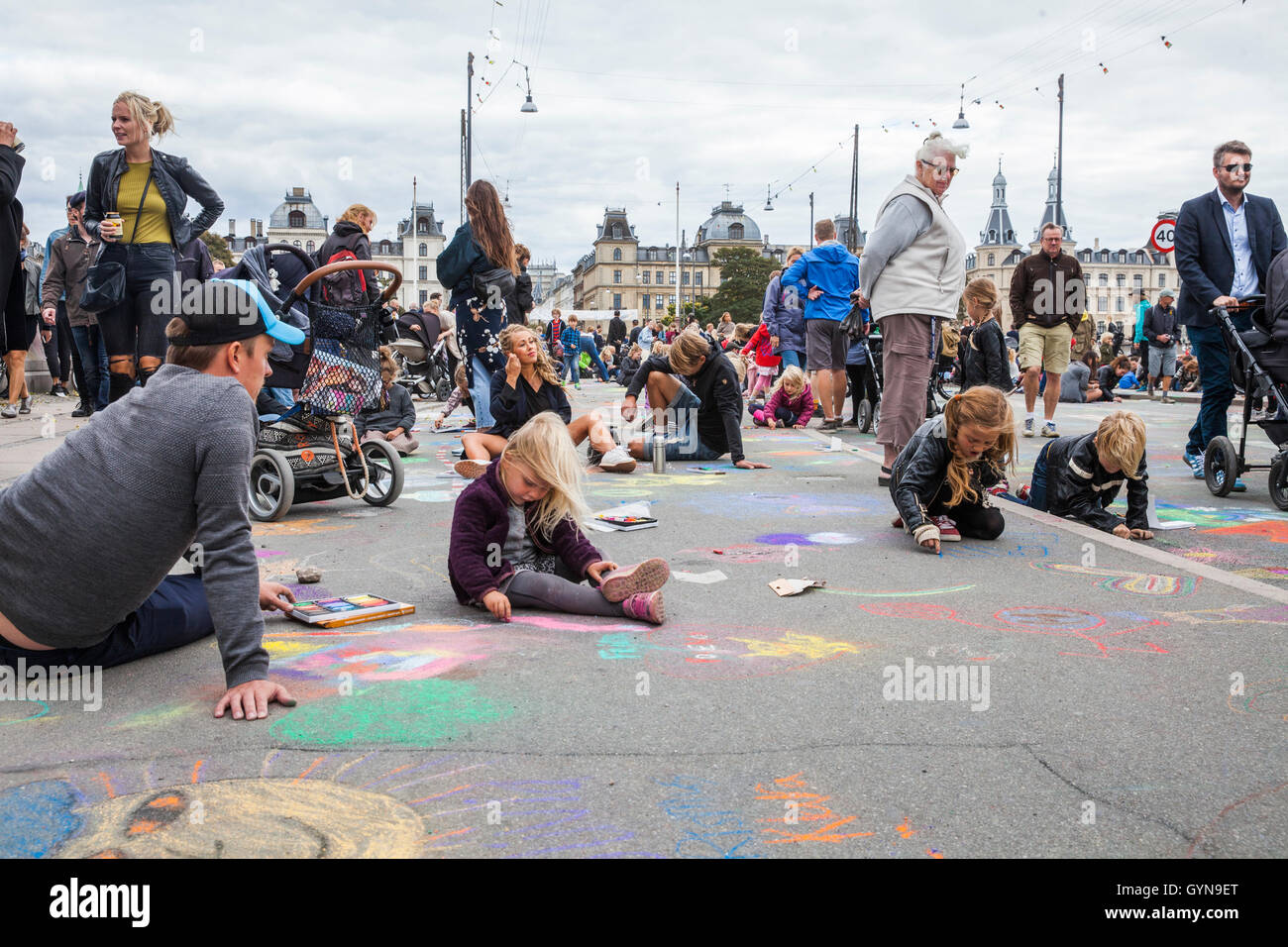 Copenhagen, Denmark. 18th Sep, 2016. Denmark, Copenhagen, September 18th. 2016. 45,840 pieces of chalk were used - Stock Image