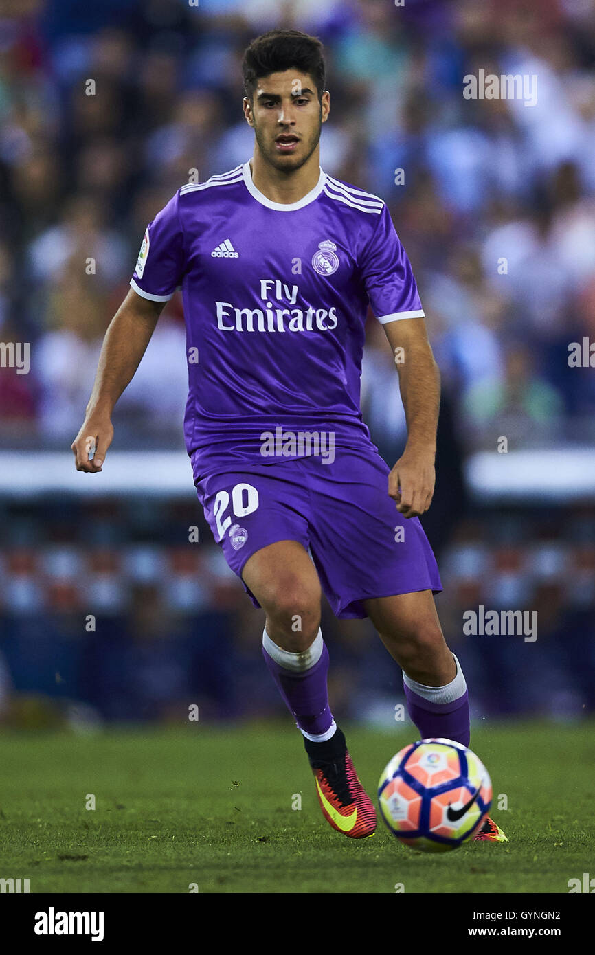 Marco Asensio (Real Madrid CF), during La Liga soccer match between RCD Espanyol and Real Madrid CF, at the Cornella - Stock Image