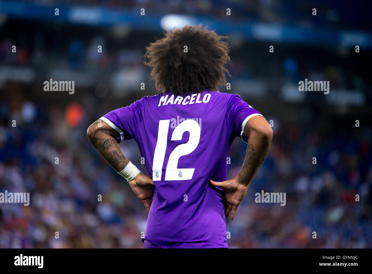 BARCELONA - SEP 18: Marcelo plays at the La Liga match between RCD Espanyol and Real Madrid CF at RCDE Stadium on - Stock Image