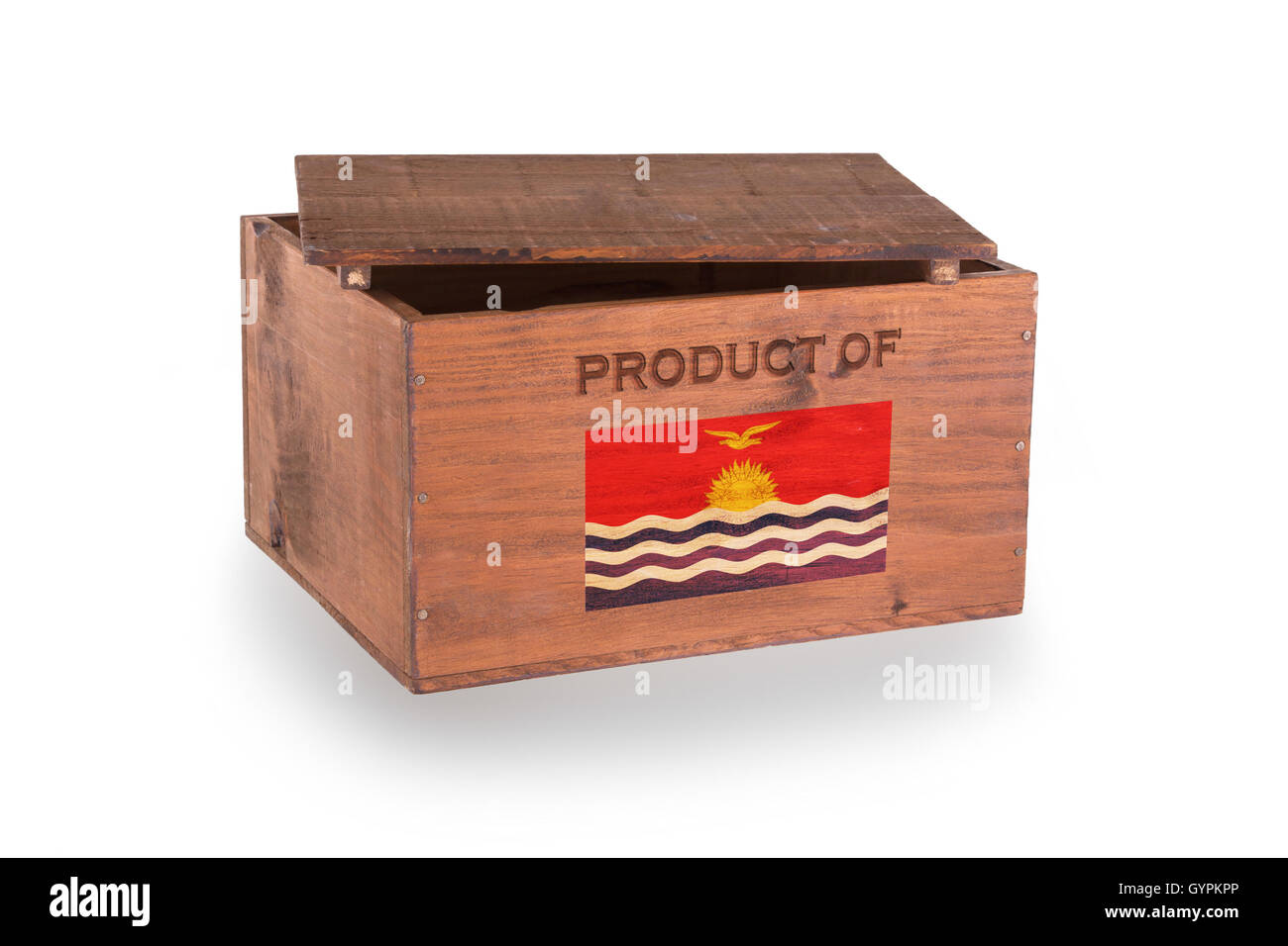 Wooden crate isolated on a white background - Stock Image
