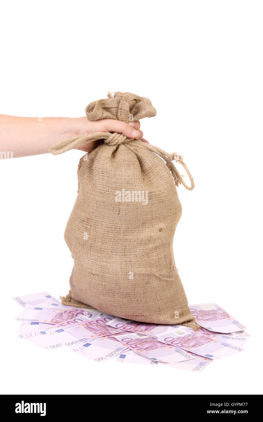 Hand holds bag with money. Stock Photo