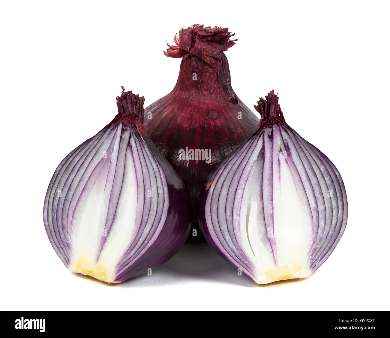 Red onions isolated on white background with clipping path - Stock Image