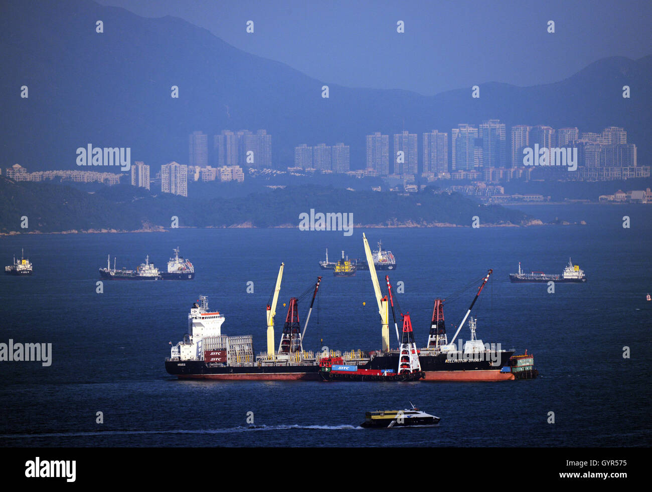 The busy east Lamma channel in Hong Kong. - Stock Image