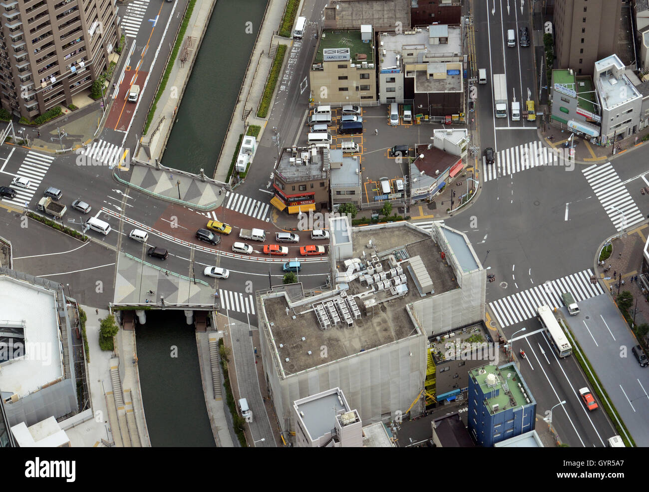 Aerial view of urban Tokyo. - Stock Image