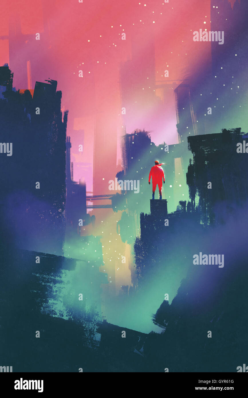 night scenery with red man standing on abandoned city,illustration painting - Stock Image
