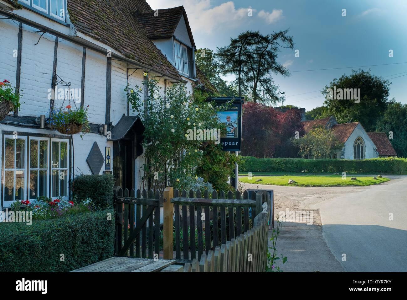The Bull & Butcher Pub, Turville Village, The Chilterns, Buckinghamshire. - Stock Image