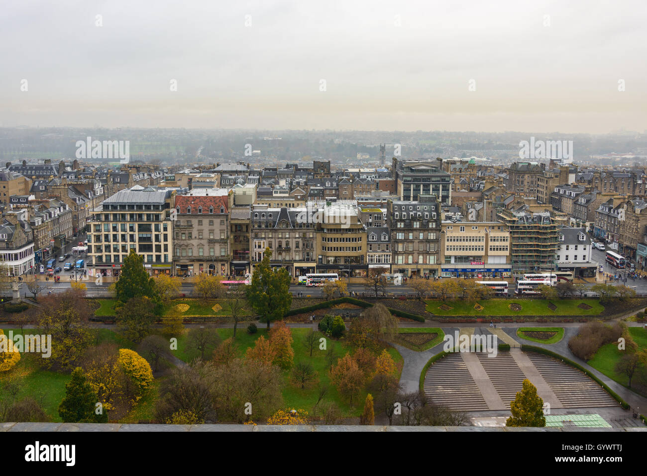 Edinburgh Princes Street Gardens and the city as seen from the castle in Scotland, UK - Stock Image