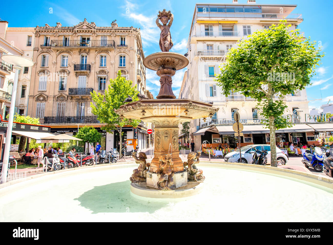 Fountain in Cannes - Stock Image