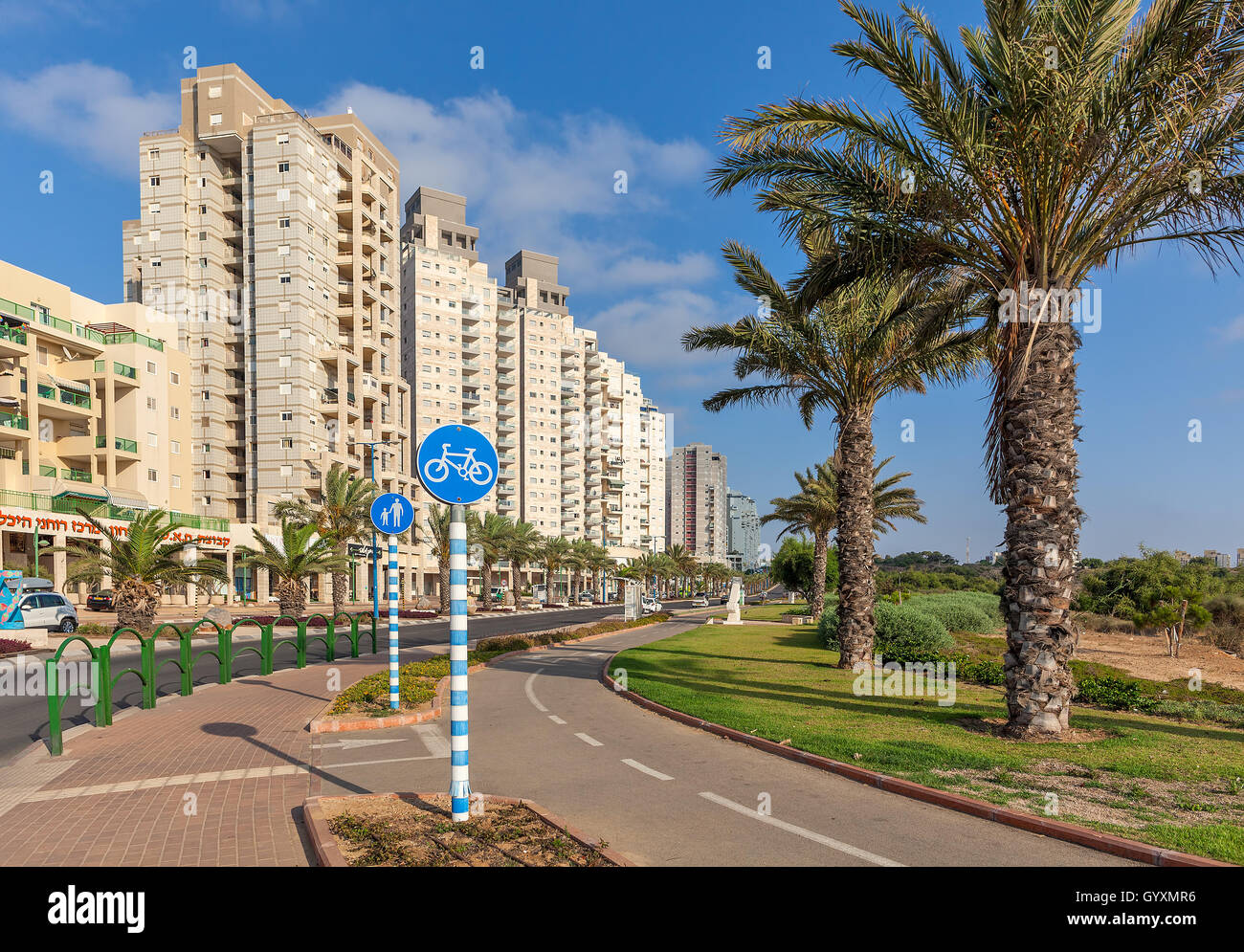 Contemporary residential buildings on avenue in Ashqelon, Israel. - Stock Image