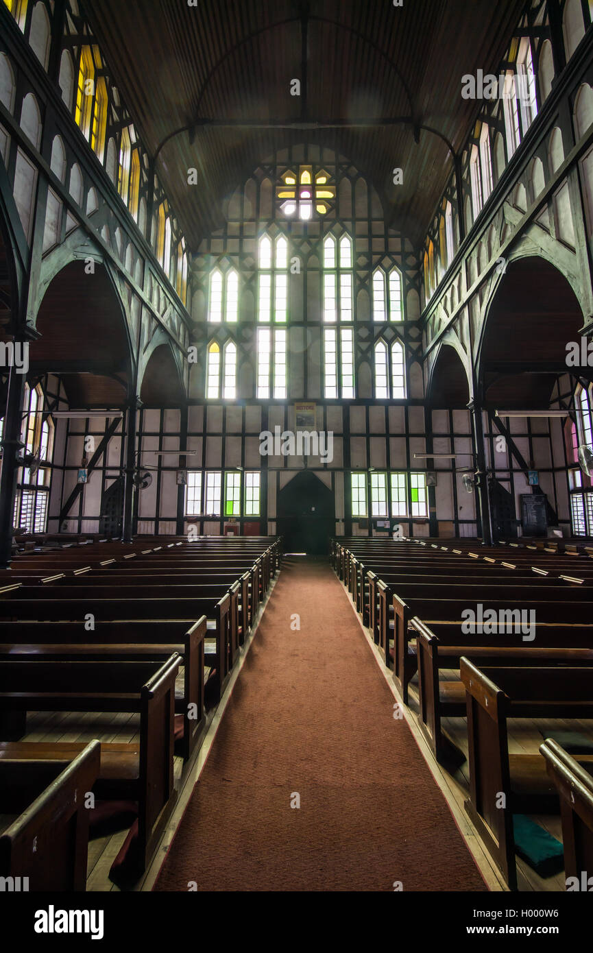Interior of the St. George´s cathedral, Georgetown, Guyana - Stock Image