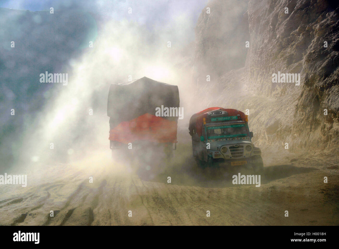 truck on the unpaved road from Spliti to Lahaul in North India, India, Lahol Stock Photo