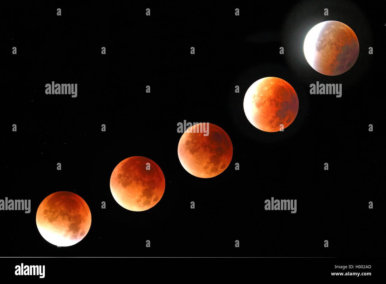 Mondfinsternis am 28.09.2015 in der Zeit von 4:19 Uhr bis 5:35 Uhr, Deutschland, Nordrhein-Westfalen, Haan   lunar - Stock Image
