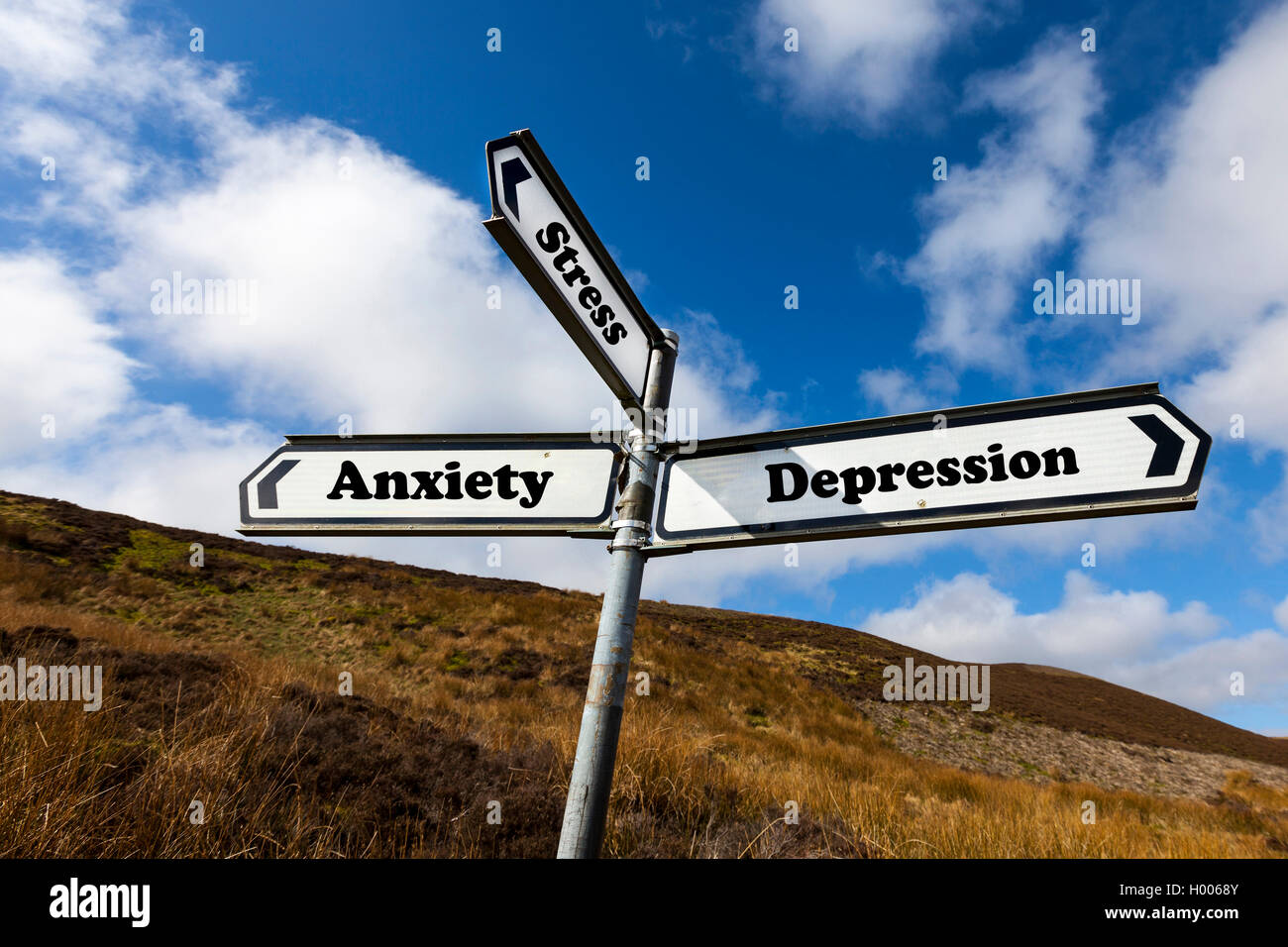 Depression anxiety stress mental health problem problems concept road sign help needed NHS unable to cope choice - Stock Image