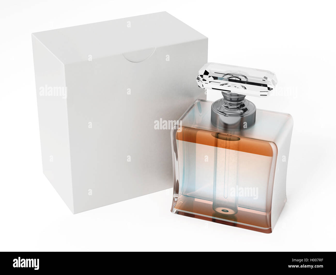 Perfume Bottle And Blank White Box 3d Illustration Stock Photo