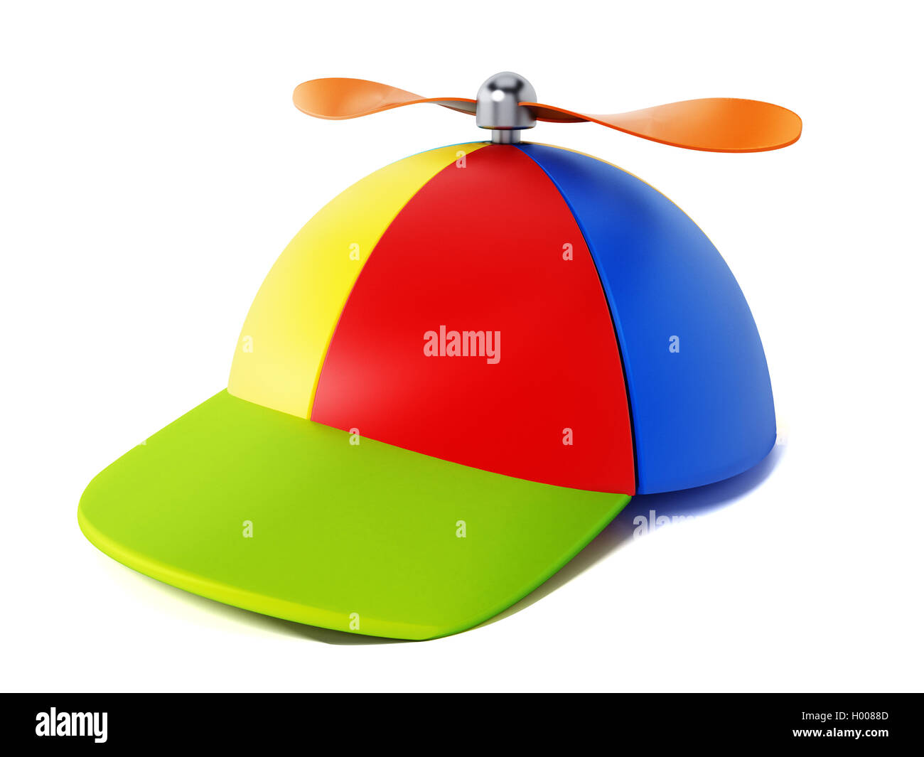 c7505f81bfc Multi colored hat with propeller isolated on white background. 3D  illustration. - Stock Image