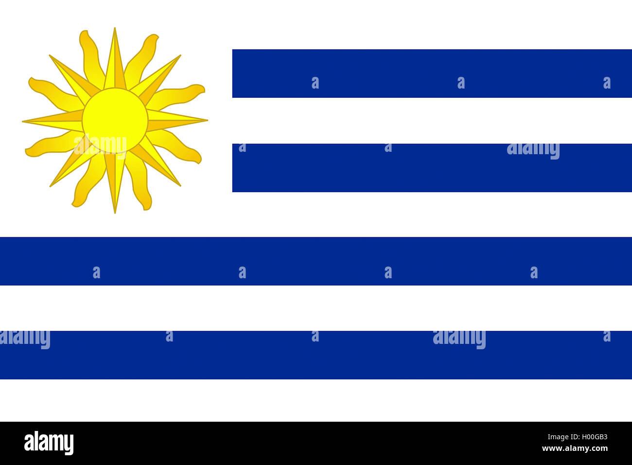 Flagge Uruguays, Uruguay | flag of Uruguay, Uruguay | BLWS419571.jpg [ (c) blickwinkel/McPHOTO/K. Steinkamp Tel. - Stock Image