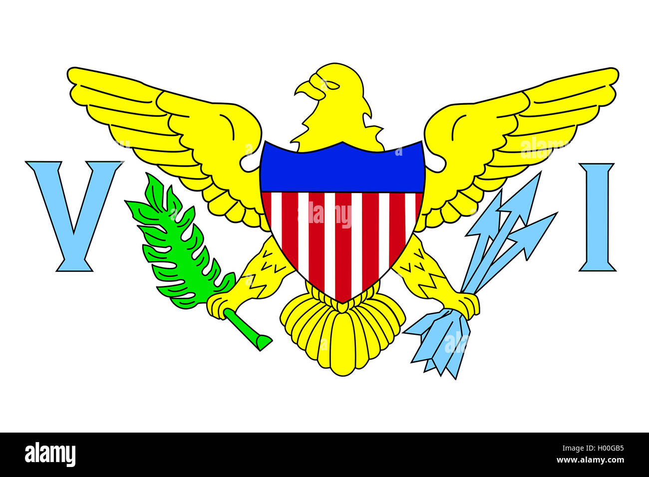Flagge von US-Virgin Islands, Flagge der Amerikanischen Jungferninseln, Jungferninseln (USA) | flag of U.S. Virgin - Stock Image