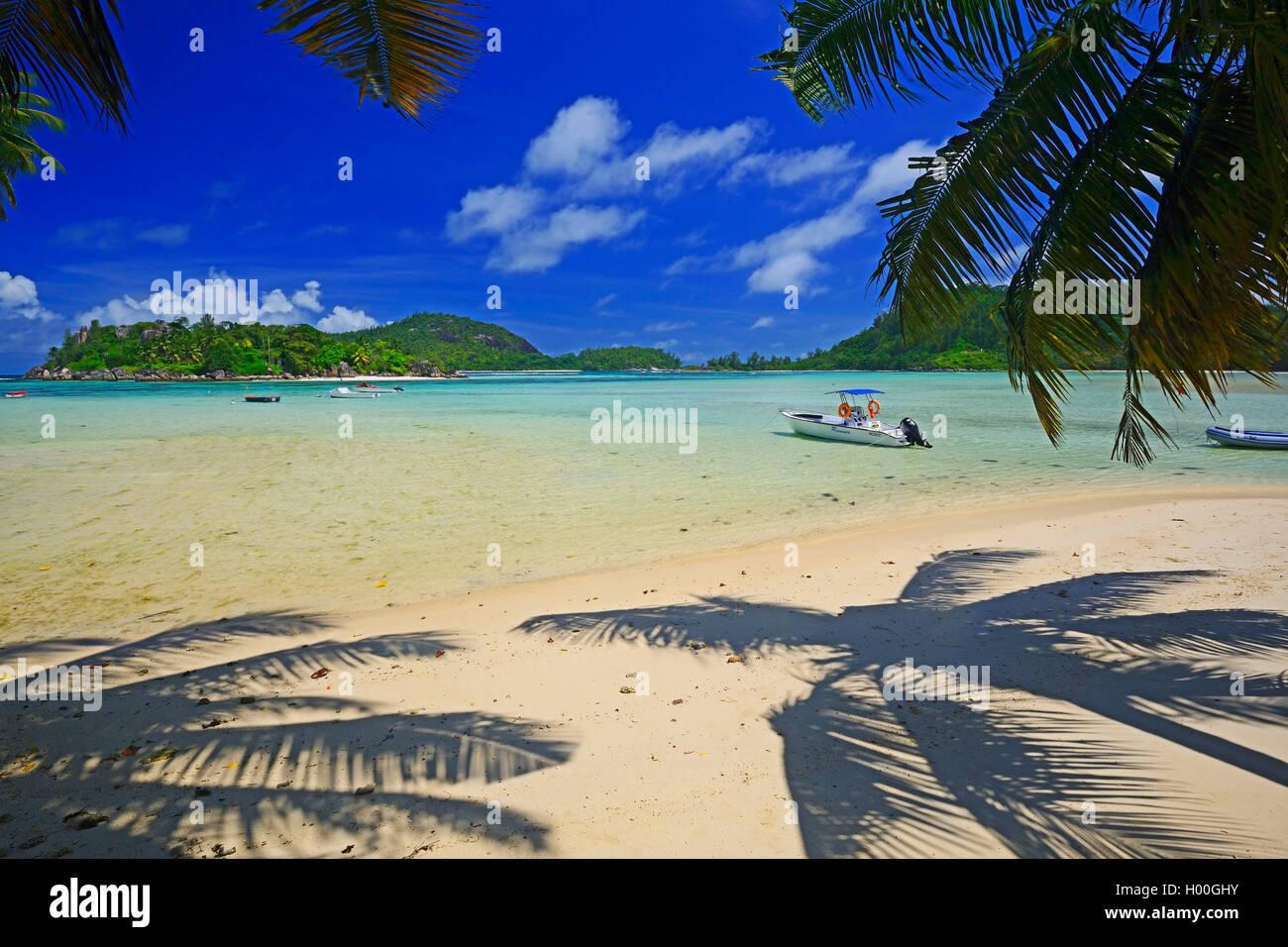 idyllic bay near Port Launay, Seychelles, Mahe Stock Photo