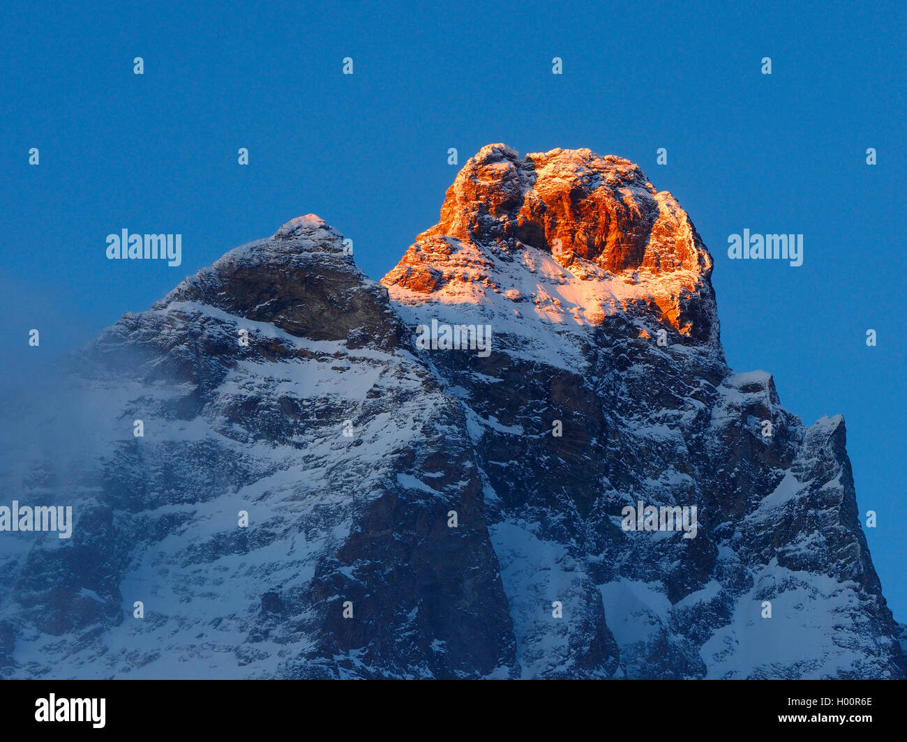 Monte Cervino (Matterhorn) view from Cervinia , Italy, Cervinia Stock Photo
