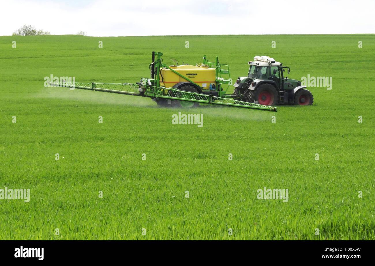 Traktor spritzt Pestizide auf ein Getreidefeld zur Unkrautvernichtung, Deutschland, Rheinland-Pfalz, Westerwald - Stock Image