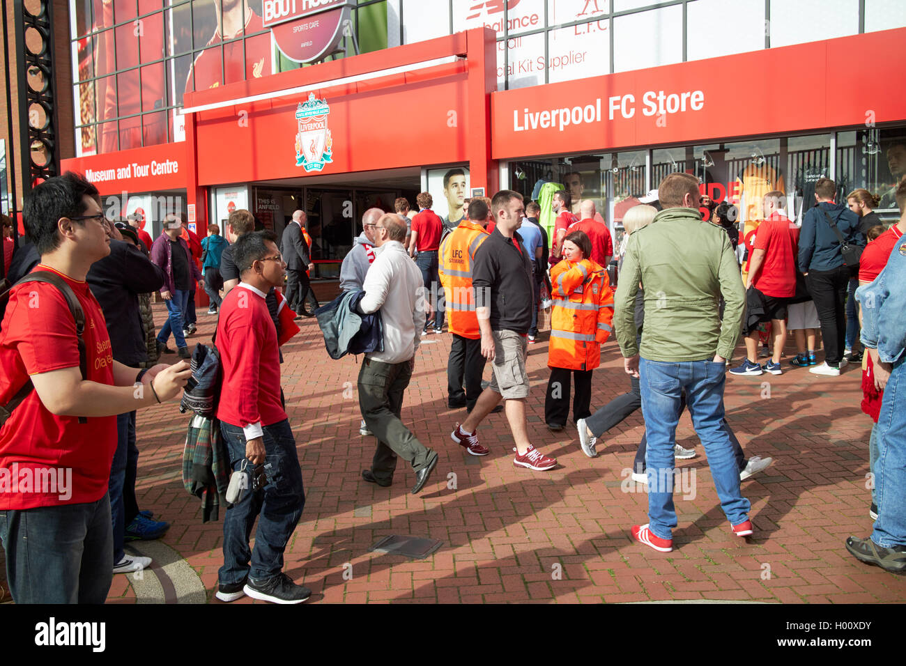 museum and official store entrance Liverpool FC anfield stadium Liverpool Merseyside UK - Stock Image