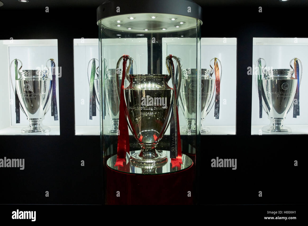 European Cup Champions League Trophy Room In Museum Liverpool FC Anfield Stadium Merseyside UK