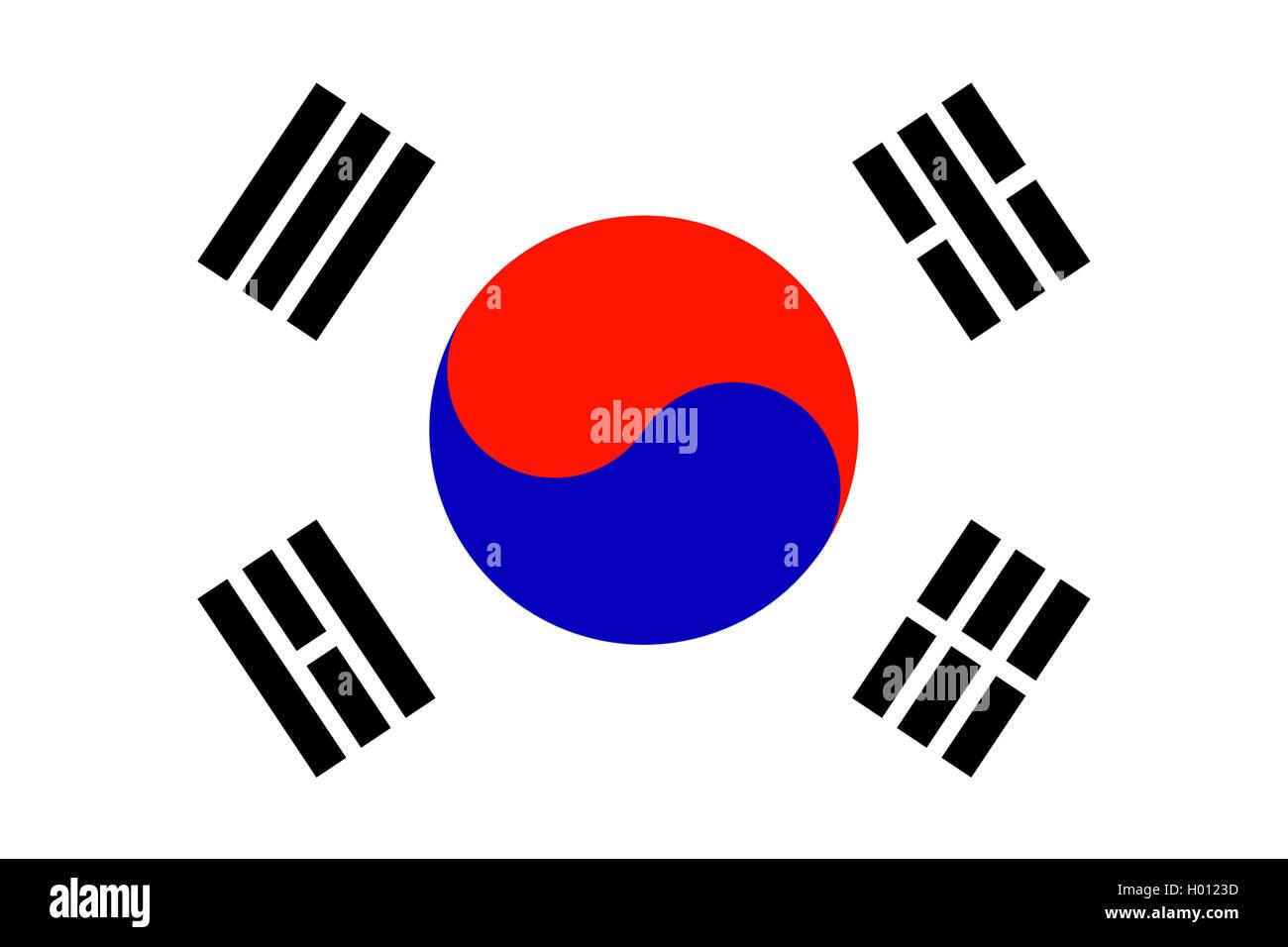 Flagge Suedkoreas, Taegeukgi, Suedkorea | flag of South Korea, Taegukgi, South Korea | BLWS419761.jpg [ (c) blickwinkel/McPHOTO/ - Stock Image
