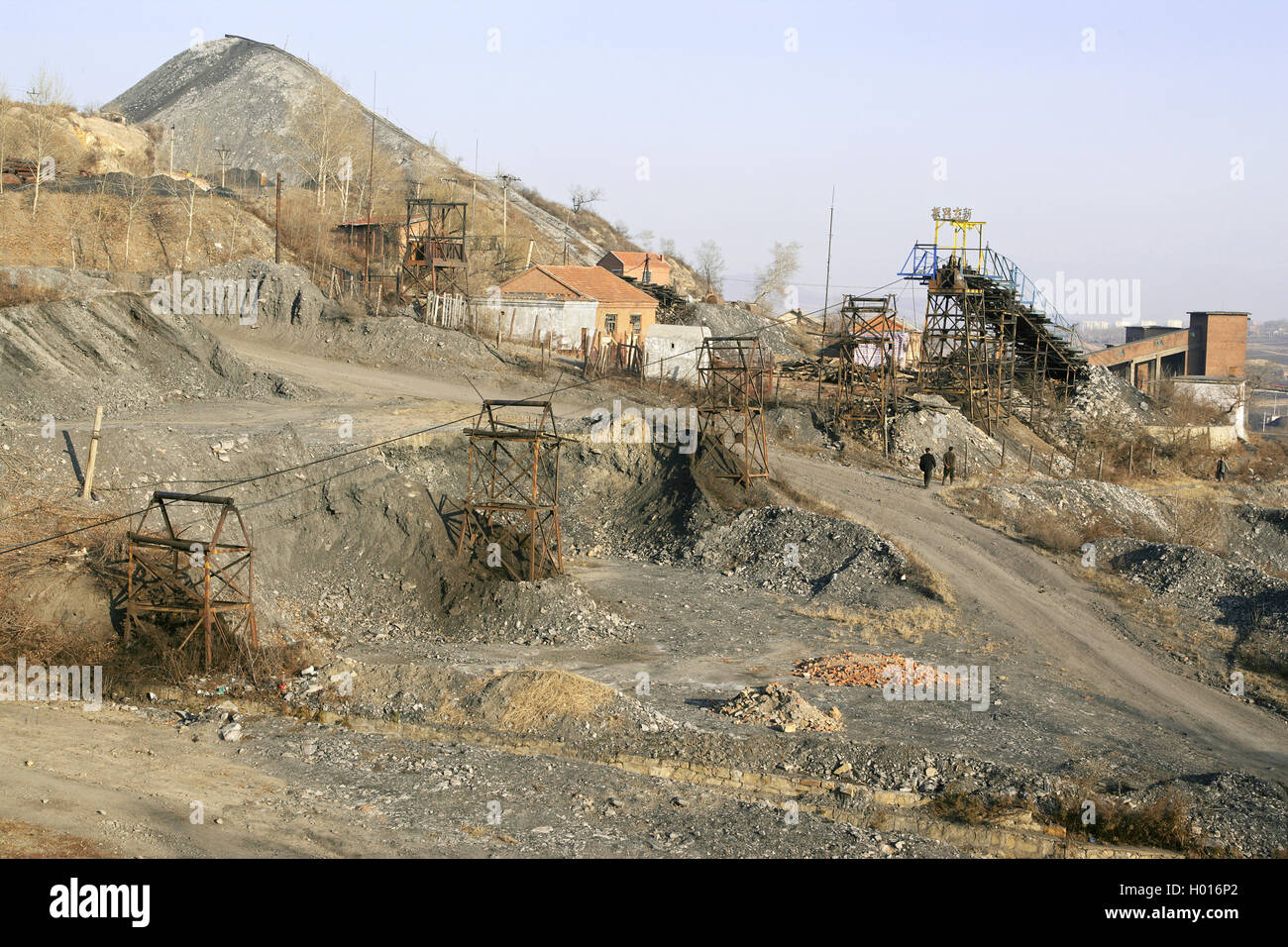 A scene on the Lixin Coal Company, Jixi in November 2007 Stock Photo