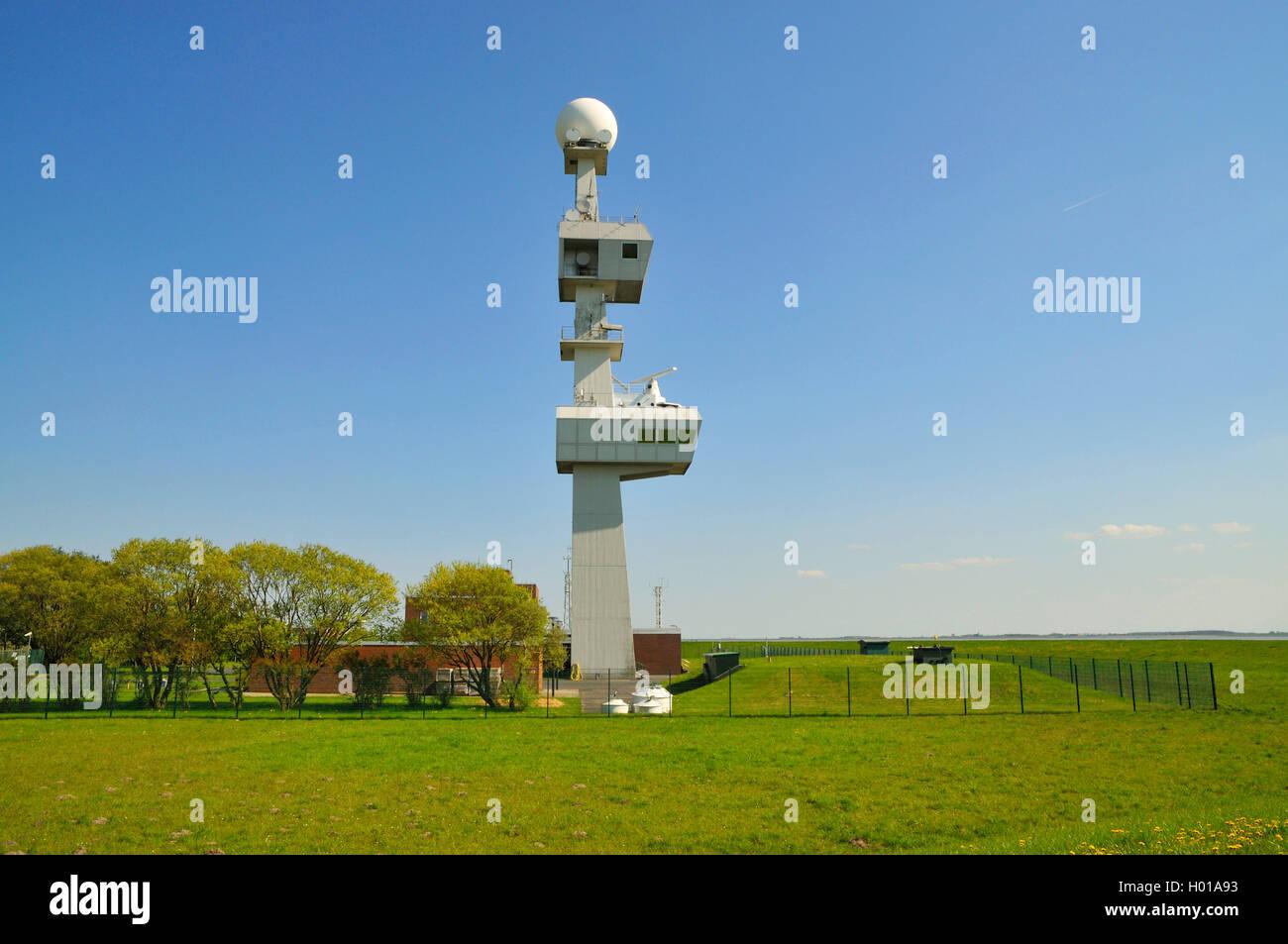Radarstation Knock, moderner Leucht- und Radarturm der Verkehrszentrale Ems, Deutschland, Niedersachsen, Knock, - Stock Image