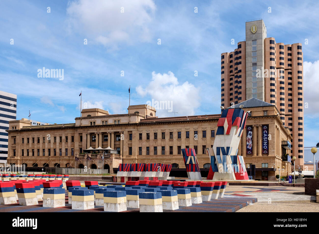 The facade of the architecturally ornate Adelaide Casino - Stock Image