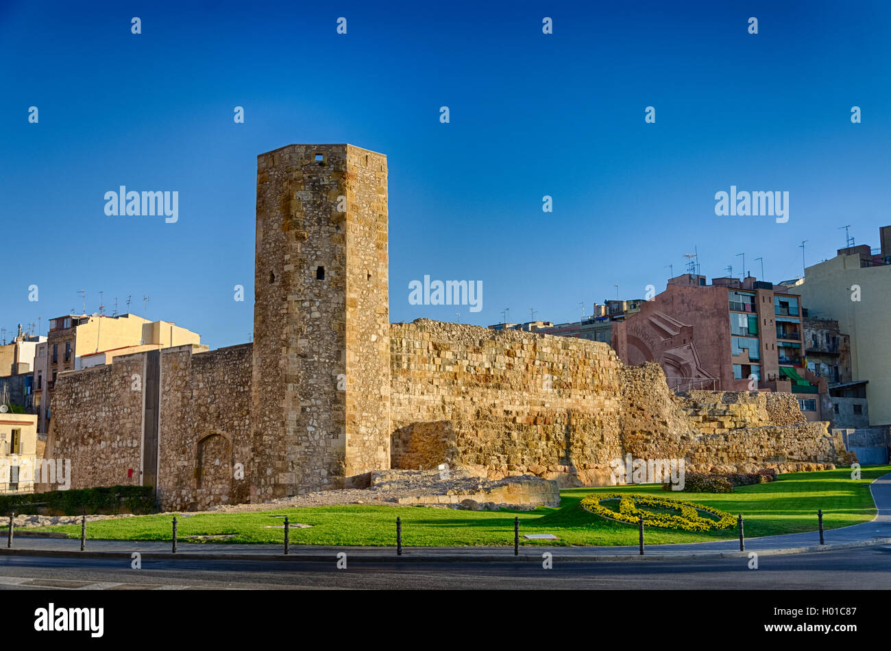 Ancient roman tower in sunrise light Tarragona, Spain - Stock Image